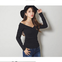 Vetement Femme 2019 Tshirts Cotton Women Korean Clothes Sexy Deep V-Neck T-Shirt Long Sleeve Casual T Shirt Female Womens Tops(China)