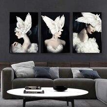 Черно белая модная женская шляпа с изображением крыльев Ангела