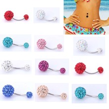 1PCS Crystal Rhinestone Woman Navel Belly Button Ring Pircing Surgical Steel Real Belly Piercing Navel Bar Body Jewelry цена и фото