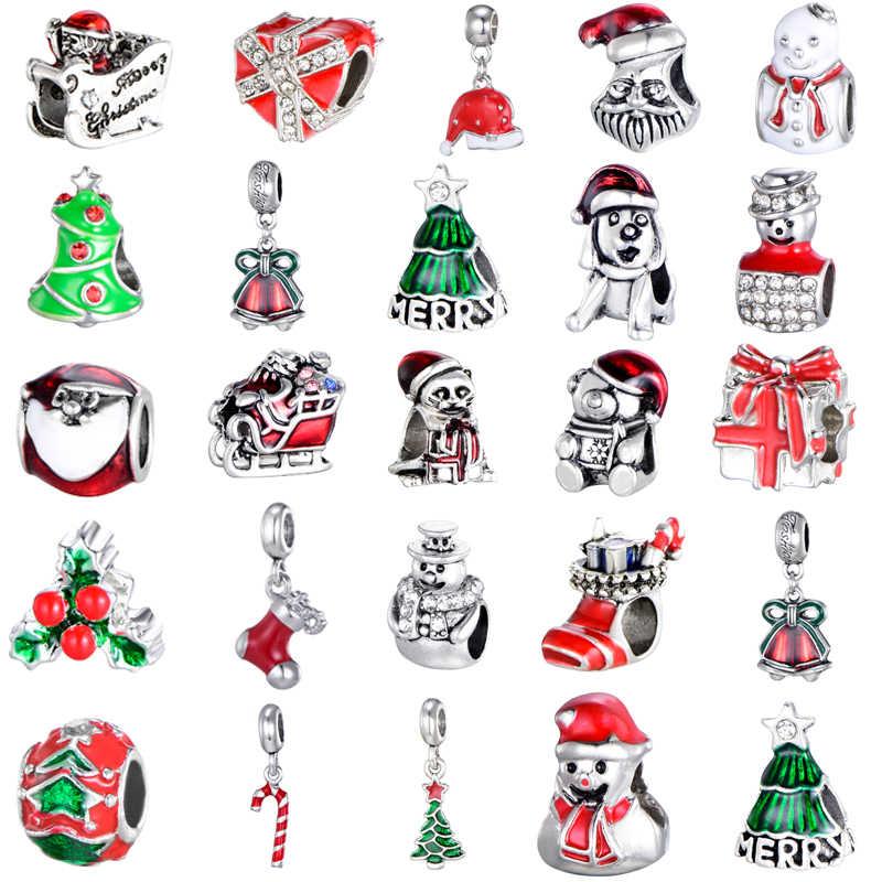 Octbyna חג המולד עץ תליון סנטה קלאוס חרוזים מתאים פנדורה צמיד שרשרת ביצוע עבור ילד חג המולד מתנות Dropshipping