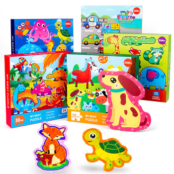 цена Vokmascot New Big Wooden Puzzle Toys For Children 3d Cartoon Traffic Animal Puzzles Intelligence Kids Early Educational Gift Toy онлайн в 2017 году