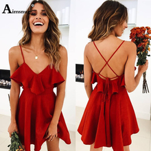 Aimsnug Red Sexy Lace Up Spaghetti Strap Ruffle Mini Dress Women Summer Glamorous Sleeveless V Neck Losse Night Party Dress цена 2017