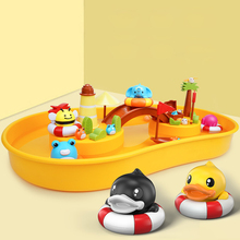 Kids Magnetic Fishing Game Toy Set Pole Rod Flowing Board Water Table Educational Bath Interactive Game Indoors Outdoors Gift