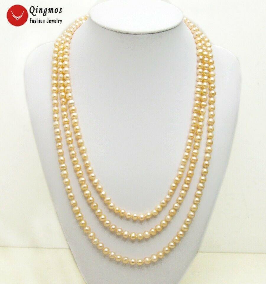 Qingmos mode 7-8mm collier de perles d'eau douce naturelles rose rond pour femme collier Long de Style réglable 80