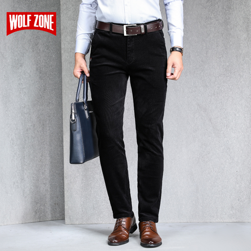 Fashion Corduroy Men Trousers Loose Straight Simple Solid Color Mens Winter Pants Stretch Business Slim Casual Pants