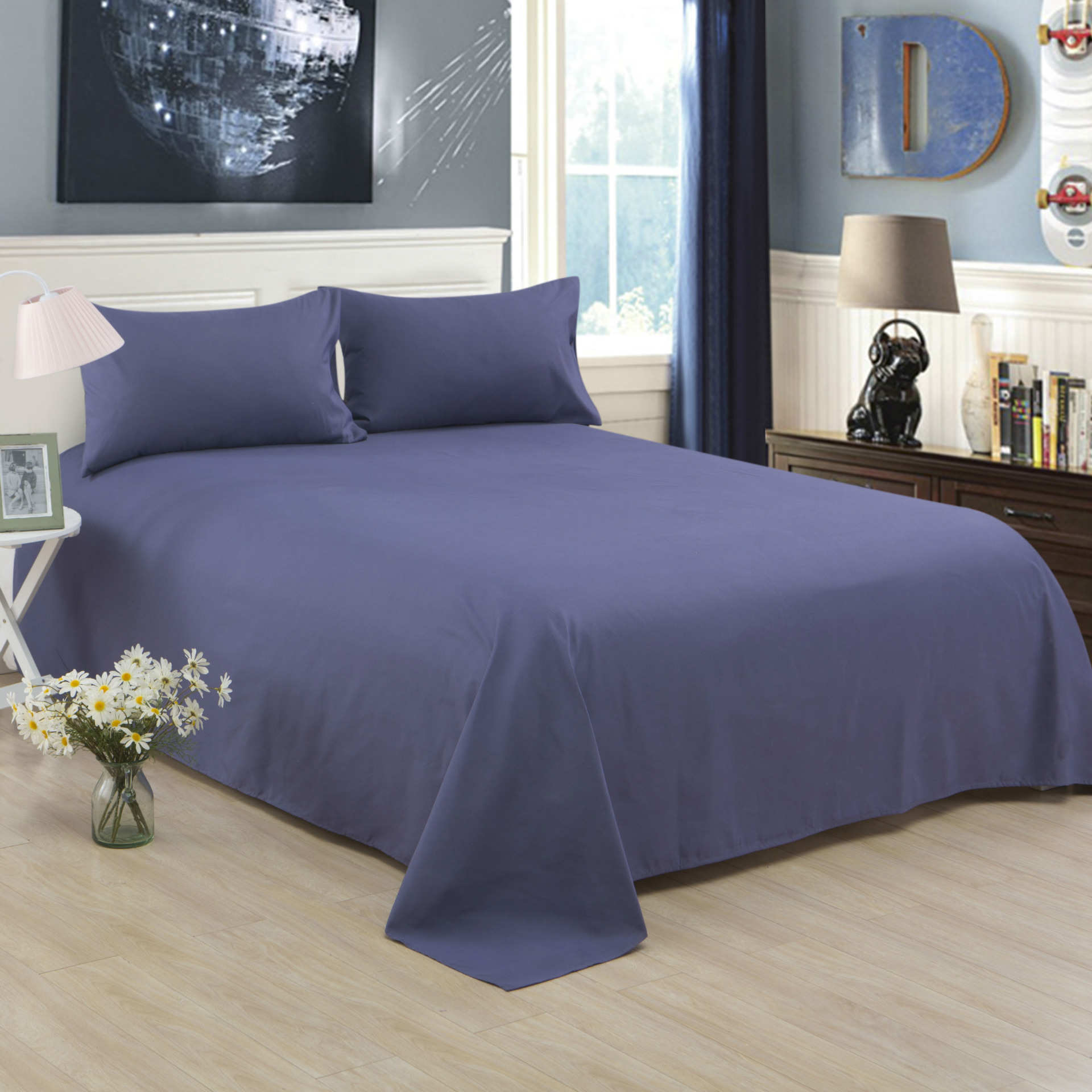 ropa de cama Solid color polyester cotton bed sheet hotel home soft brushed flat sheet queen bed cover not included pillowcase 18