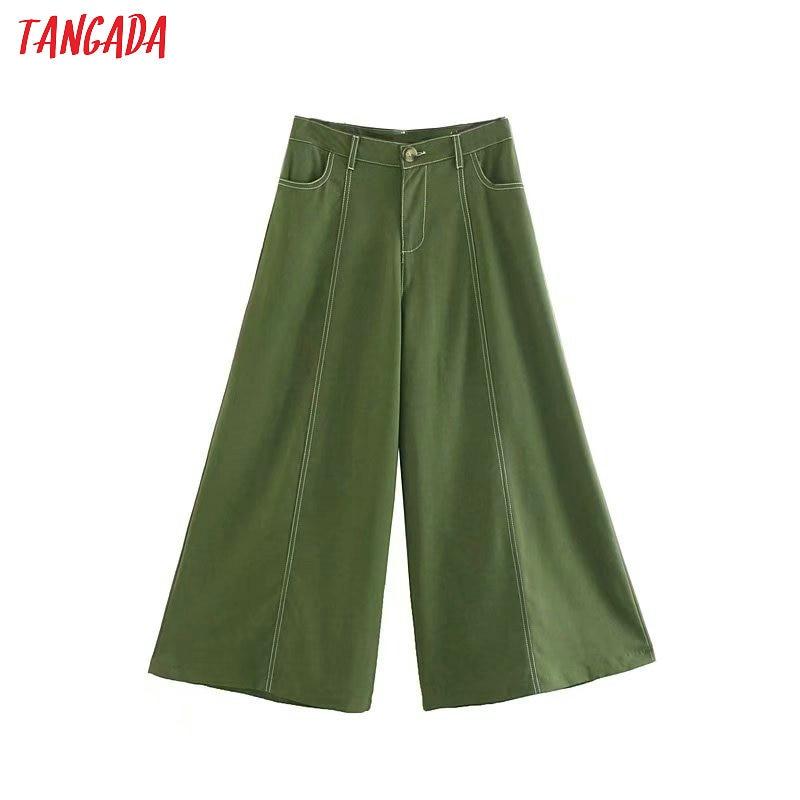 Tangada2019 autumn women solid   wide     leg     pants   single button pocket retro female streetwear casual white black trousers 4M36