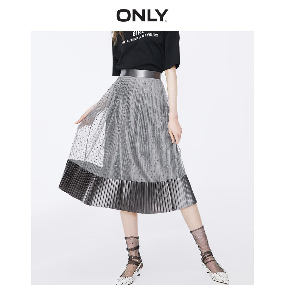 ONLY Women's High-rise Velvet Gauzy Splice Pleated Skirt | 11911G520