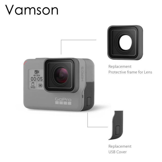 Vamson For Go pro Accessories UV Protective Lens Replacement USB HDMI Port Side Cover For Gopro Hero 7 6 5 Sport Camera VP717