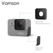 Vamson para go pro acessórios uv substituição da lente de proteção usb hdmi porta lateral capa para gopro hero 7 6 5 esporte câmera vp717