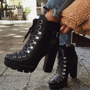 Perixir Fashion Platform Ankle Boots Women 2020 Spring Autumn Black Leather 12cm Thick Heel Boots Ladies Worker Womens Boots
