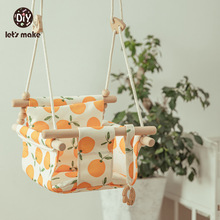 Let's Make Baby Swing Set Cartoon Canvas Chair Hanging Wood Outdoor Baby Toy Outdoor Small Basket Safe Recreation For Children
