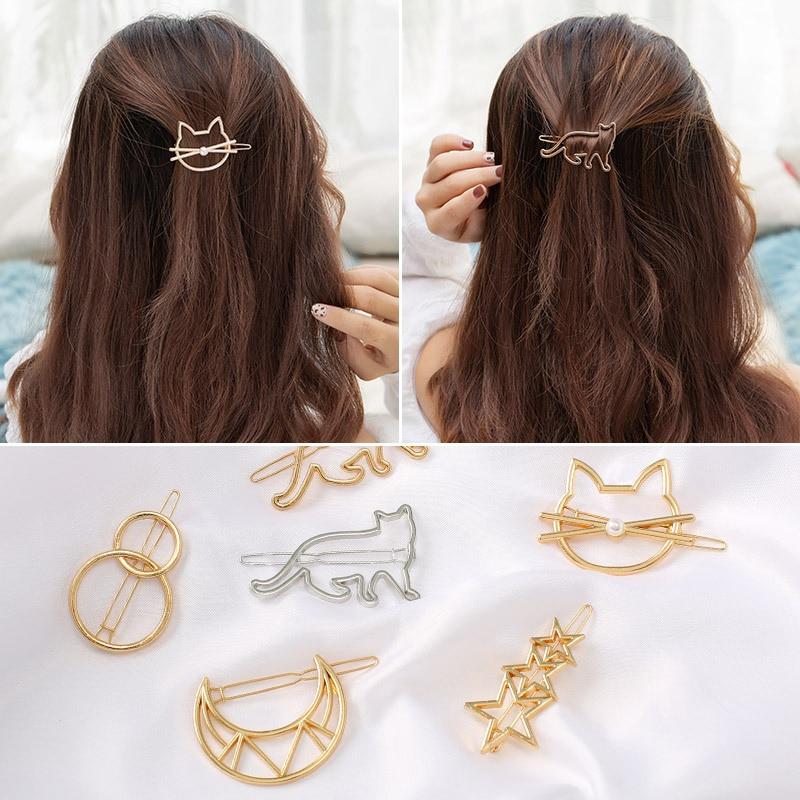 Fashion Woman Hair Accessories Triangle Hair Clip Pin  HaiMetal Hairpin Barrettes Clips For Womenr  Geometric Stars Knot Hairpin