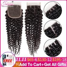 Perruque Lace Closure brésilienne Remy, cheveux naturels frisés, 4x4, 3 parties, partie libre et centrale, 2 5 10 pièces/lot