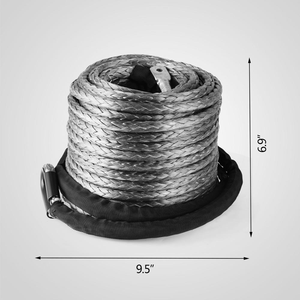 "3/8"" X 95' Winch Synthetic Line Cable Rope 20500 LBs Recovery W/ Thimble Sleeve"