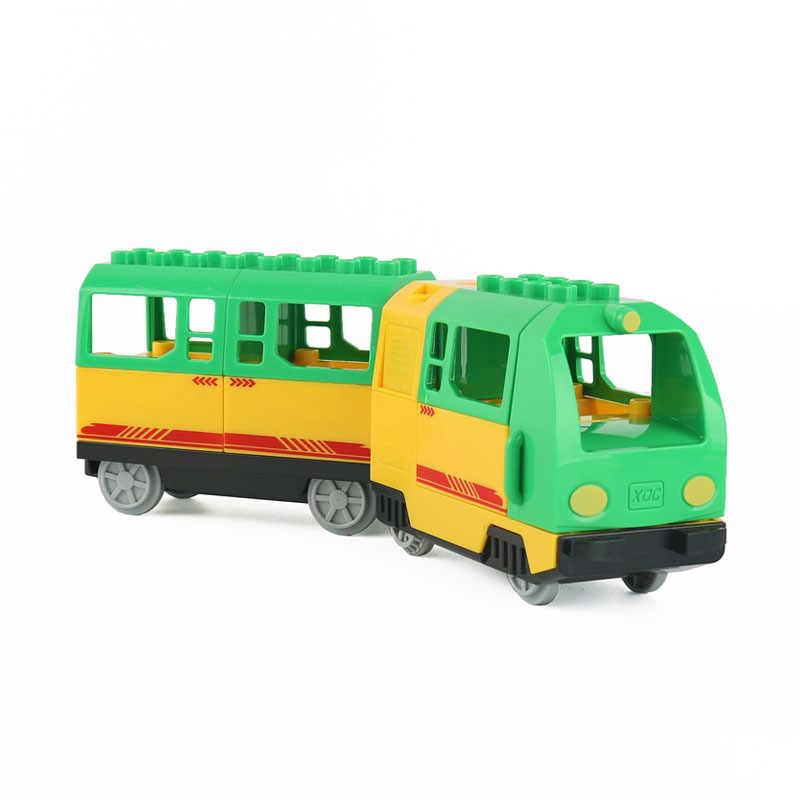 גודל גדול Diy אבני בניין תואם עם Duploed רכבת מסלול אביזרי רכבת מעוקל Crossover גשר צעצועים לילדים מתנה