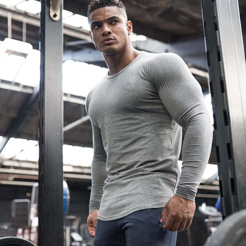 Solid Color Fitness T-shirt Men Casual Cotton T Shirt Male Gym Bodybuilding Workout Skinny Tee Shirt Tops Running Sport Clothing