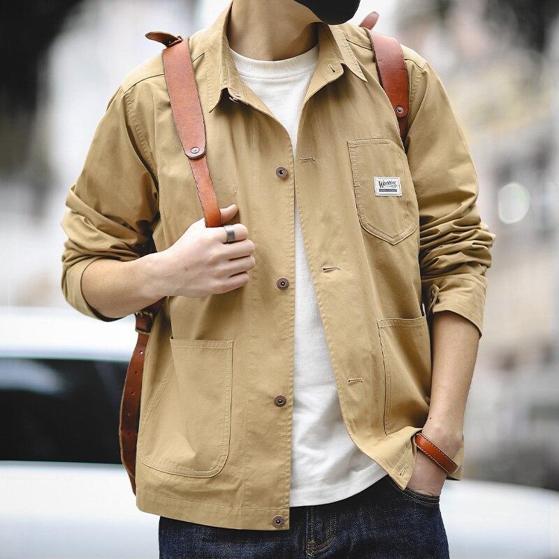 Maden Men's Long Sleeve Lightweight Work Shirts Military Shirt Jacket Spring Autumn Button Down Workwear Shirts