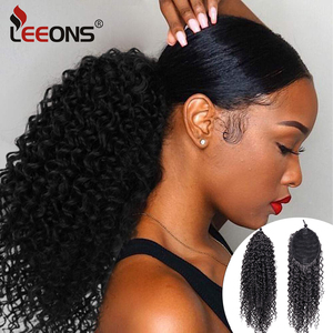 Leeons 13Inch Afro Kinky Curly Ponytail African American Short Wrap Synthetic Drawstring Puff Pony Tail Clip In Hair Extensions