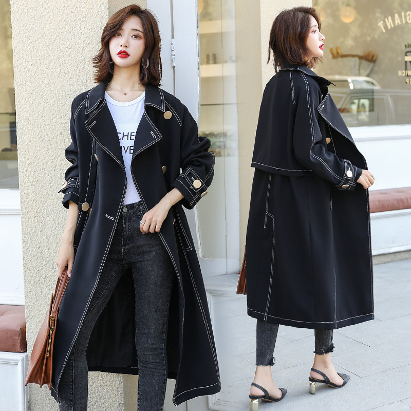 2019 Autumn Clothing New Style Black Trench Coat Mid-length Korean-style Retro Hong Kong Flavor Loose Casual Coat Trench Coat