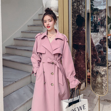 New Pink Trench Coat Women Spring Plus Size Pink Double Breasted Female Fashion