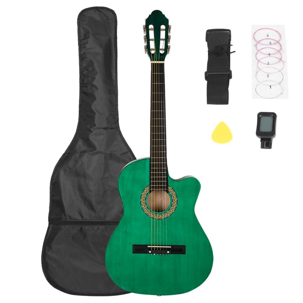 Guitare Folk coupe avant en épicéa de 38 pouces avec sac et planche et ceinture et accordeur à cristaux liquides et jeu de cordes guitare avec couvercle vert