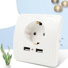 Adapter Socket Wall-Charger Power Outlet Eu-Plug Dual-Usb-Port White-Pop CE 2A KEKA
