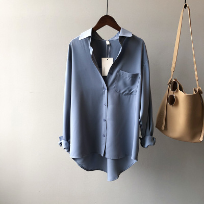 White Women Blouse Ol Commuting 2021 Spring Lapel Long Sleeve Women Blouses Office Fashion Elegant Loose White Women Shirt Top 8