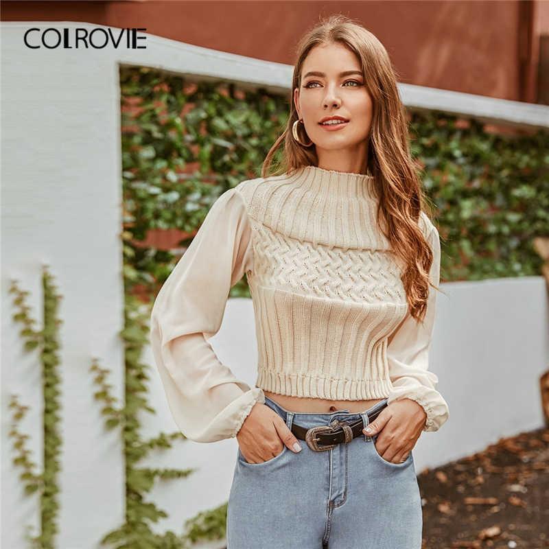 COLROVIE Beige Mock neck Mixed Knit Sweater Women 2019 Autumn Bishop Sleeve Pullovers Ladies Tops Elegant Solid Sweaters