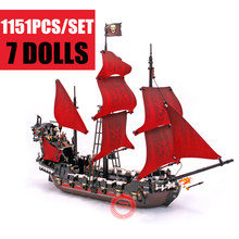 New Military Toys City Queen Anne's Revenge Pirates of Caribbean Figures Fit Legoings Ship Building Block Bricks 4195 Gift Kids new lepin 16009 queen anne s revenge pirates of the caribbean building blocks set bricks compatible 4195 1151pcs toys for child