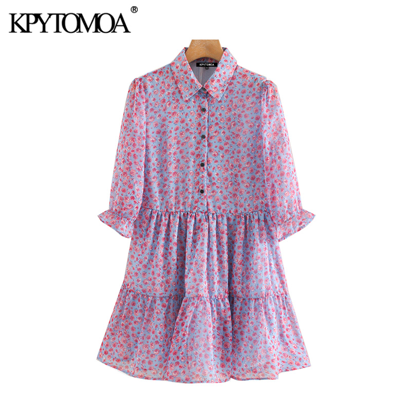 KPYTOMOA Women 2020 Sweet Fashion Floral Print Ruffled Mini Dress Vintage Lapel Collar Short Sleeve Female Dresses Vestidos