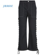 JESSIC Hip-hop Street Pants Punk Side Cross Lace-up Straight Pant