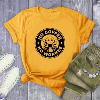 No Coffee No Workee Letter Print T Shirt Women Short Sleeve O Neck Loose Tshirt 2020 Summer Women Tee Shirt Tops Camisetas Mujer trendy style scoop neck letter print short sleeves tee for women