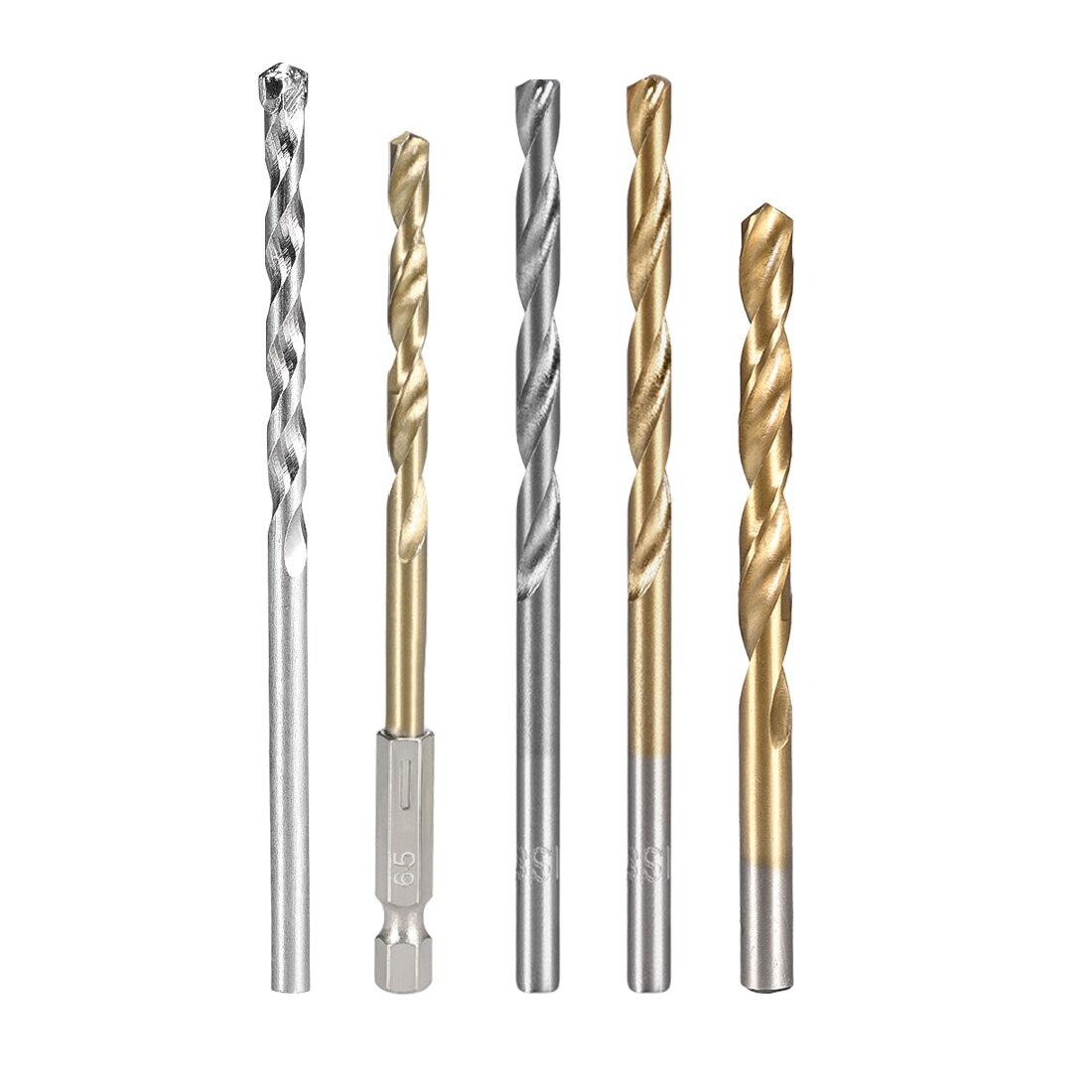Uxcell 1-2 Set 1.5mm-6.5mm/1mm-10mm Drilling Dia HSS Twist Drill Bit Set Titanium Coating Straight Shank Spiral Rotary Tool