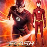 Mono con estampado de la temporada 5 de Flash, disfraz de superhéroe de Halloween, traje de Cosplay 3D Zentai, Cosplay de Flash