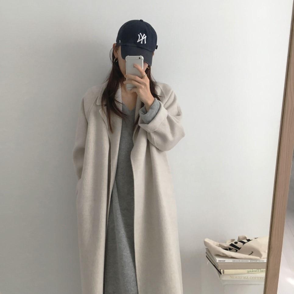 Hb487b5472ccf40d4b798ab2d01d440dbN - Winter Revers Collar Solid Woolen Overcoat with Belt
