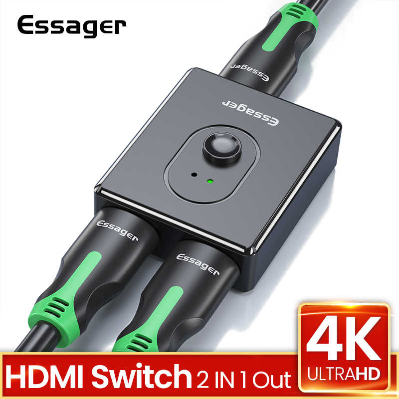 Essager interruptor divisor hdmi bidirecional, 4k 2.0, adaptador hdmi 1x2 / 2x1 conversor 2 em 1 para ps5 ps4 hd tv box