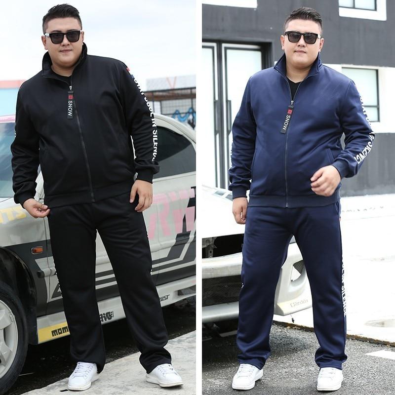 2021 Men Running Sets Autumn Sportswear 140KG Sport Suit Sweatshirt Sweatpants Mens Clothing 2 Pieces Sets  Jogging Tracksuit 2