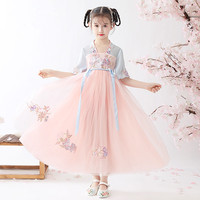 Chinese Traditional Summer Dress For Girls Chinese Dynasty Costume Qing Dynasty Tang Suit Chiffon Dress Pink Hanfu DQL2399