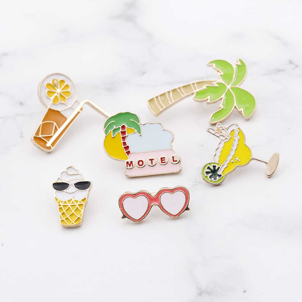 Unisexe cocotier Orange jus lunettes crème glacée émail broche sac Badge mode broche pince sur veste/chapeau/chemise/décor broche