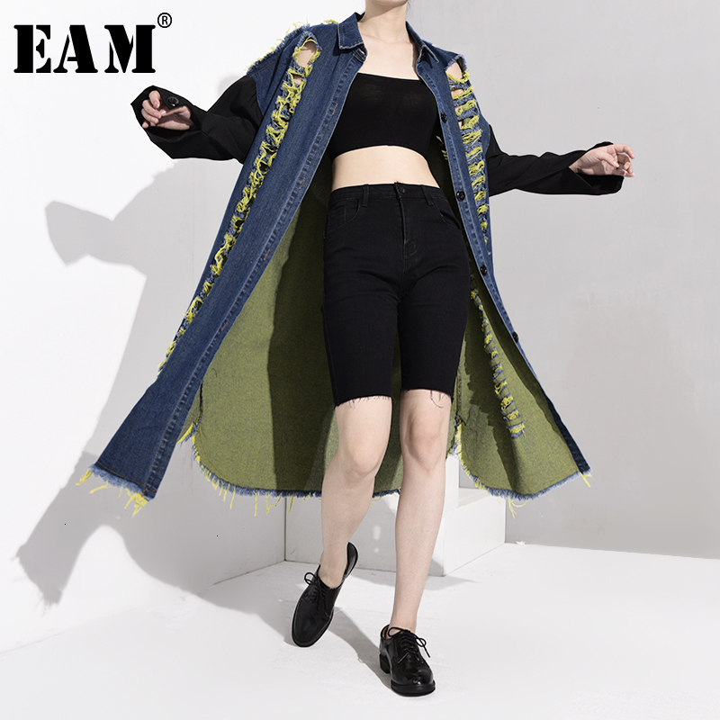 [EAM] Women Blue Holes Denim Long Big Size Trench New Lapel Long Sleeve Loose Fit Windbreaker Fashion Autumn Winter 2019 1B981