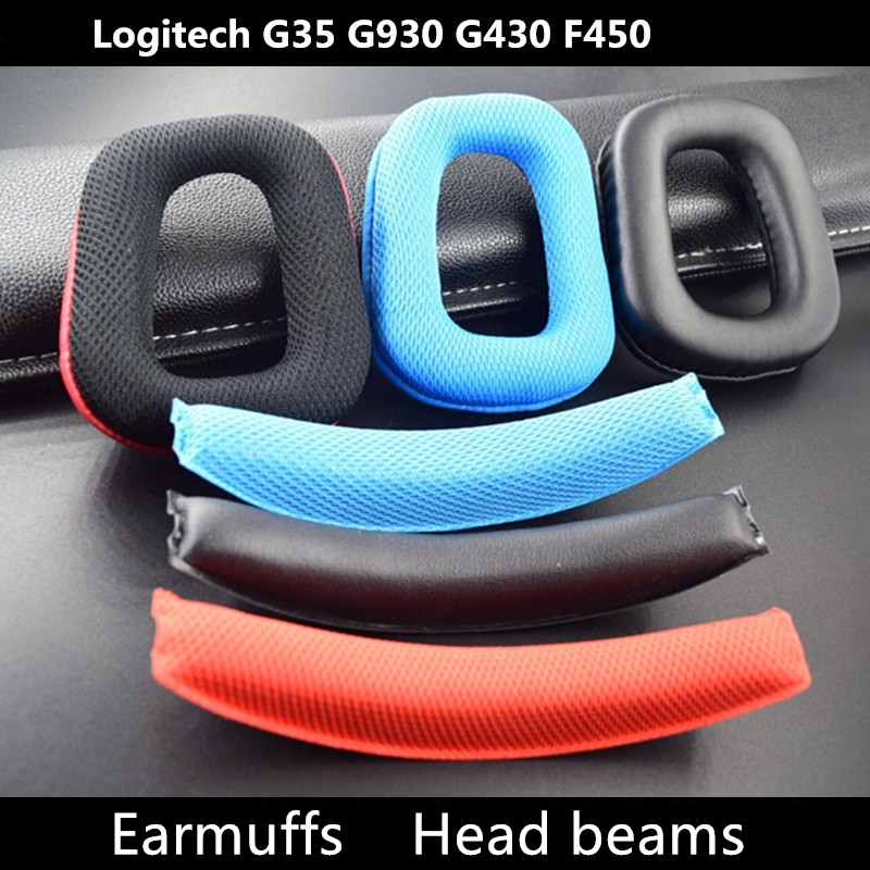 Headphone Earpads Covers For Logitech G35 G930 G430 F450 Headphone Cushion Pad Replacement Ear Pads Head Beam Sponge