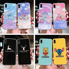 Personalized creative glitter tempered glass phone case for iPhone X XS XR XSMax 8 7 6 6S PluS cartoon drop protection cover