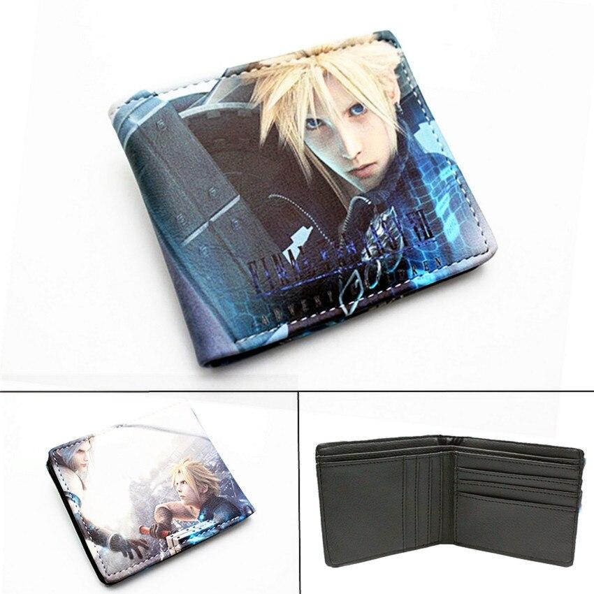Game Final Fantasy Wallet PU Short Bifold Photo Card Holder Layers Boys Girls Zip Coin Pocket Leather Cartoon Purses Gift
