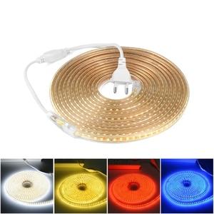 Image 1 - Super Heldere SMD2835 Dimbare 220V Led Strip Licht 1M 25M Keuken Outdoor Tuin Backlight Lamp Tape lint Guirlande Met Eu Plug