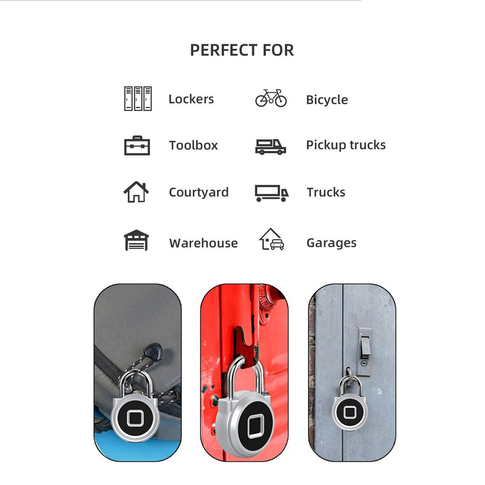 Image 3 - Smart Fingerprint Padlock Keyless electronic biometric Door Lock Waterproof Security USB Rechargeable Lock Home Safety Free Ship-in Electric Lock from Security & Protection