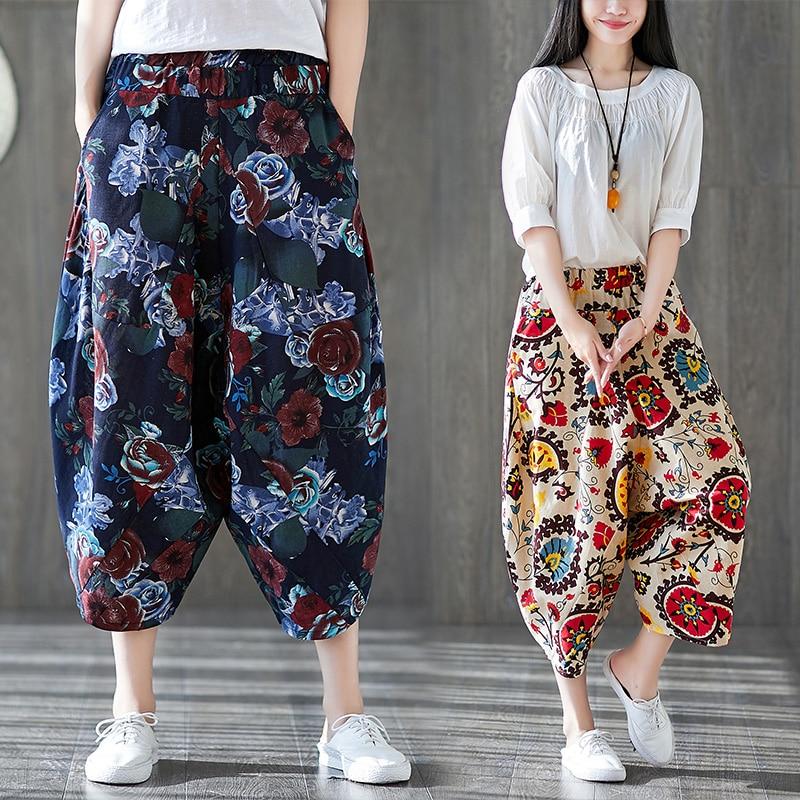 Шаровары в этническом стиле из хлопка и льна, свободные брюки с завышенной талией и низким шаговым швом, льняные укороченные мешковатые шта...