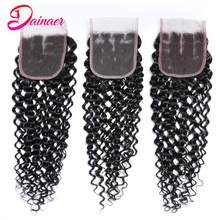 Brazilian Water Wave Lace Closure human hair 4x4 inches Lace Free/Middle/Three Part 8-22 inches free shippping Dainaer Hair