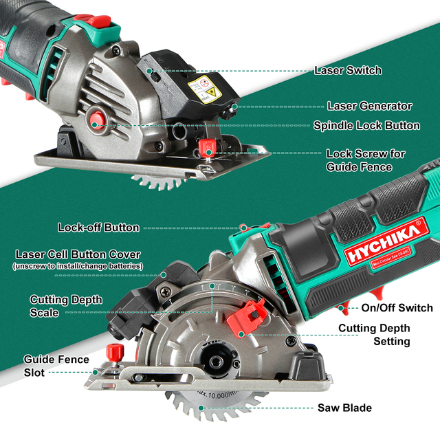 HYCHIKA 500W Electric Mini Circular Saw With Laser 120V 220V Multifunctional Electric Saw DIY Power Tool For Cut Wood,PVC tube 4