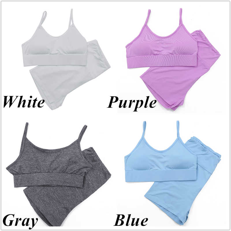 2 ピース/セットシームレス女性スポーツスーツジム服通気性のトレーニングパンツ + トップス実行ブラジャーヨガセット女性